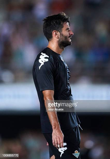 Antonio Barragan of Real Betis Balompie reacts during the Preseason match between Real Betis and Lille OSC at Estadio Chapin on July 28 2018 in Jerez...