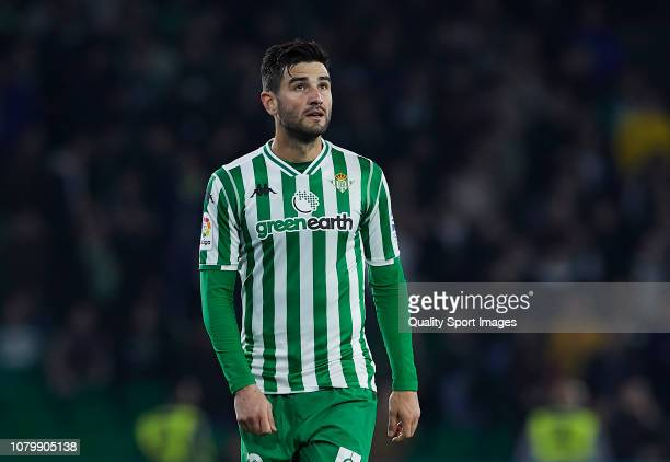 Antonio Barragan of Real Betis looks on during the La Liga match between Real Betis Balompie and Rayo Vallecano de Madrid at Estadio Benito...