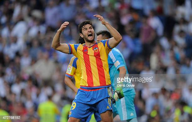 Antonio Barragan of Valencia CF celebrates after his teammate Diego Alves saved a penalty kick from Cristiano Ronaldo during the La Liga match...