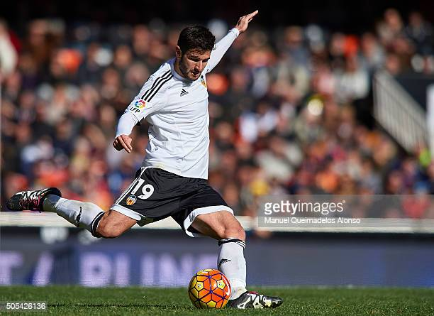 Antonio Barragan of Valencia in action during the La Liga match between Valencia CF and Rayo Vallecano at Estadi de Mestalla on January 17 2016 in...