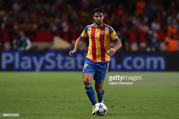 Antonio Barragan of Valencia in action during the UEFA Champions League qualifying round play off second leg match between Monaco and Valencia on...