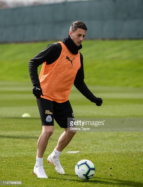 Antonio Barreca controls the ball during the Newcastle United Training Session at the Newcastle United Training Centre on March 22 2019 in Newcastle...