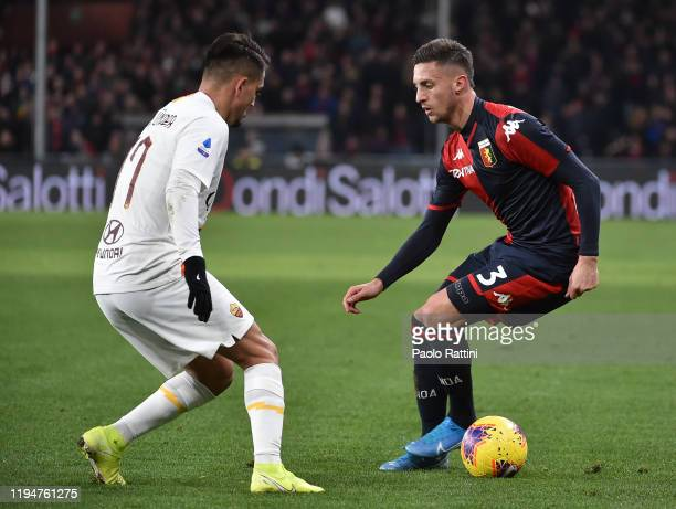 Antonio Barreca of Genoa CFC and Cengiz Under of AS Roma during the Serie A match between Genoa CFC and AS Roma at Stadio Luigi Ferraris on January...