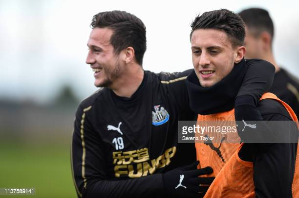 Antonio Barreca receives a hug from Javier Manquillo during the Newcastle United Training Session at the Newcastle United Training Centre on March 22...