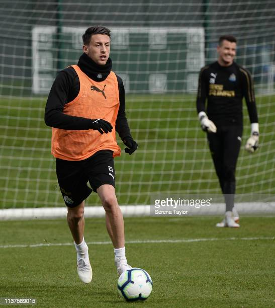 Antonio Barreca runs with the ball during the Newcastle United Training Session at the Newcastle United Training Centre on March 22 2019 in Newcastle...