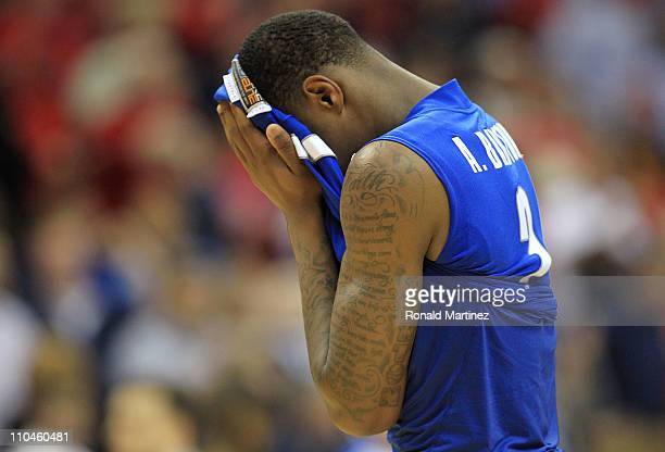 Antonio Barton of the Memphis Tigers reacts in the final moments of their 7775 loss to the Arizona Wildcats in the second round of the 2011 NCAA...