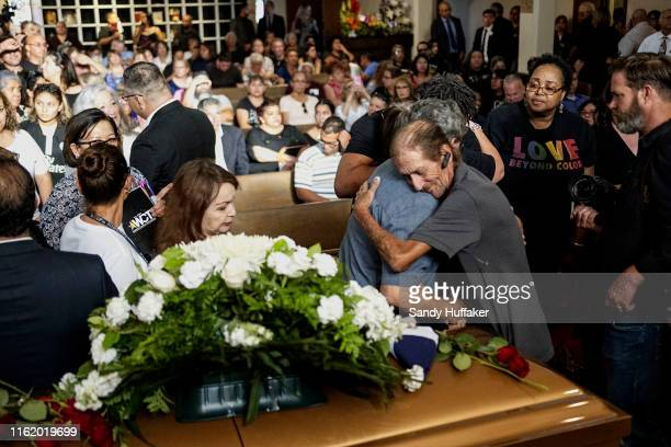 Antonio Basco greets well wishers to a public memorial for his wife, Margie Reckard, on August 16, 2019 in El Paso, Texas. Reckard was one of 22...
