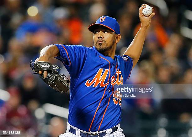 Antonio Bastardo of the New York Mets in action against the Washington Nationals at Citi Field on May 19 2016 in the Flushing neighborhood of the...