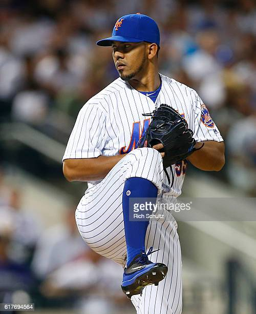 Antonio Bastardo of the New York Mets in action against the Colorado Rockies during a game at Citi Field on July 29 2016 in the Flushing neighborhood...