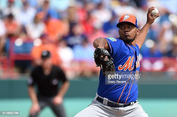 Antonio Bastardo of the New York Mets throws a pitch during the third inning of a spring training game against the Washington Nationals at Space...