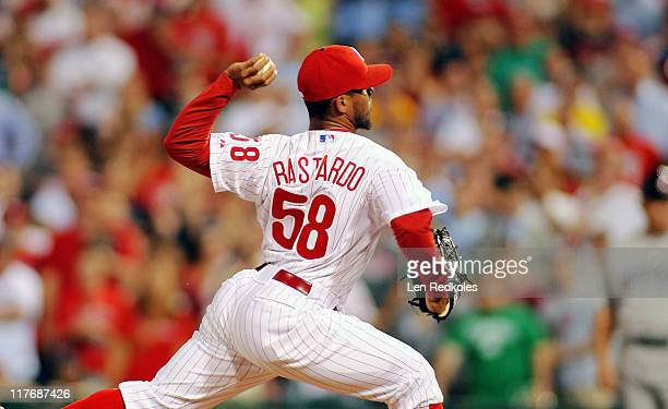 Antonio Bastardo of the Philadelphia Phillies comes in the top of the 9th to close out a 21 win against the Boston Red Sox at Citizens Bank Park on...