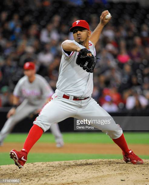 Antonio Bastardo of the Philadelphia Phillies pitches during the ninth inning of a baseball game against the San Diego Padres at Petco Park on June...