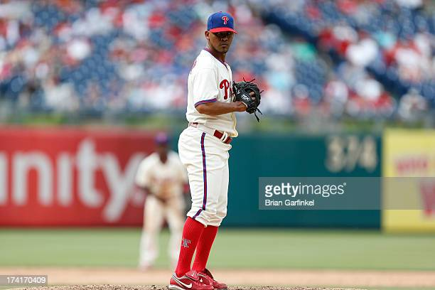Antonio Bastardo of the Philadelphia Phillies prepares to throw a pitch during the game against the Milwaukee Brewers at Citizens Bank Park on June 2...