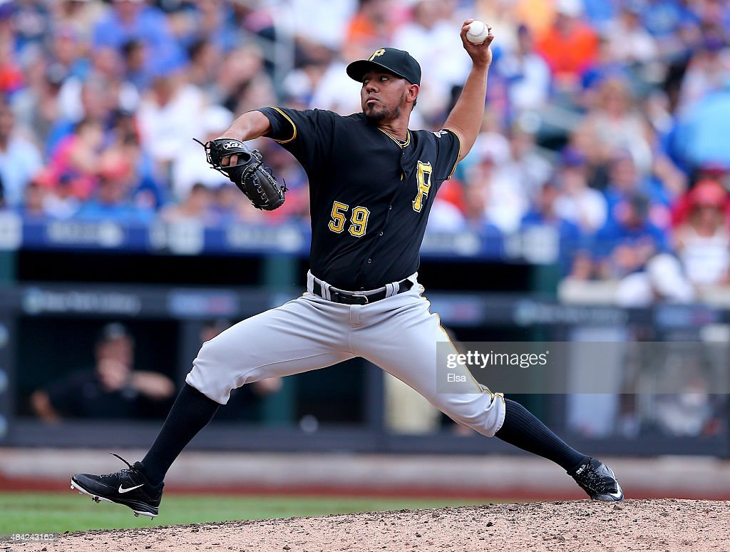 Antonio Bastardo #59 of the Pittsburgh Pirates delivers a pitch in the eighth inning against the New York Mets on August 16, 2015 at Citi Field in the Flushing neighborhood of the Queens borough of New York City.The Pittsburgh Pirates defeated the New York Mets 8-1.