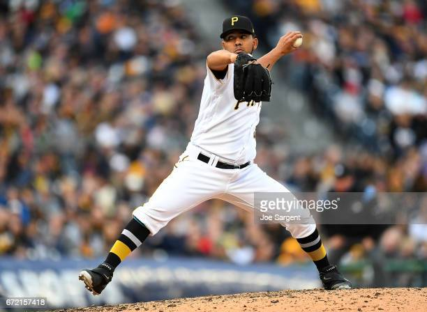 Antonio Bastardo of the Pittsburgh Pirates in action against the New York Yankees at PNC Park on April 22 2017 in Pittsburgh Pennsylvania