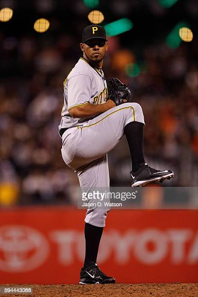 Antonio Bastardo of the Pittsburgh Pirates pitches against the San Francisco Giants during the seventh inning at ATT Park on August 16 2016 in San...