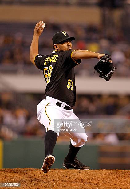 Antonio Bastardo of the Pittsburgh Pirates pitches during the game against the Milwaukee Brewers at PNC Park on April 17 2015 in Pittsburgh...