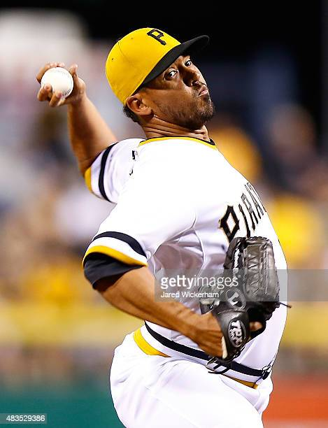 Antonio Bastardo of the Pittsburgh Pirates pitches in the 9th inning against the Los Angeles Dodgers during the game at PNC Park on August 9 2015 in...