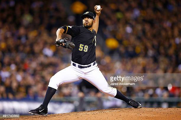 Antonio Bastardo of the Pittsburgh Pirates throws a pitch in the sixth inning during the National League Wild Card game against the Chicago Cubs at...