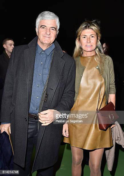 Antonio Belloni and his wife attend the Celine show as part of the Paris Fashion Week Womenswear Fall/Winter 2016/2017 on March 6 2016 in Paris France