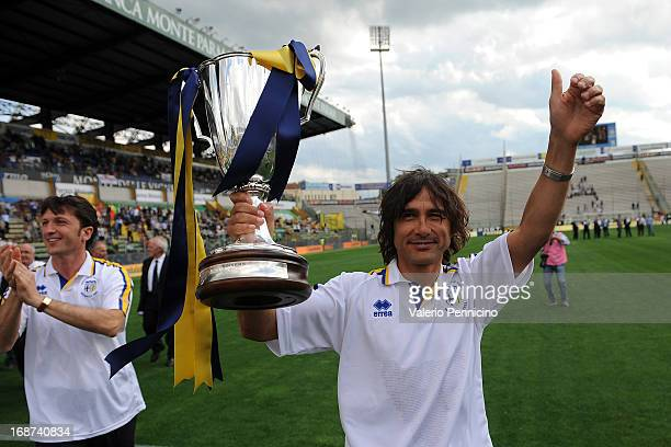 Antonio Benarrivo celebrates with the cup the twentieth anniversary of the conquest of the Cup Winner's Cup at Wembley prior to the Serie A match...