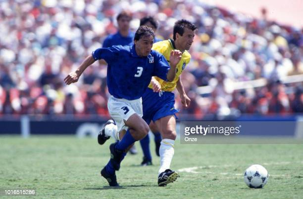 Antonio Benarrivo of Italy and Dunga of Brazil during the 1994 FIFA World Cup final match between Brazil and Italy at Rose Bowl on July 17 1994 in...