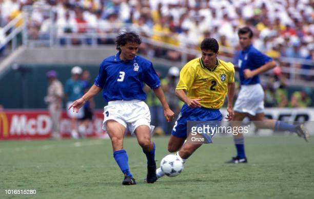 Antonio Benarrivo of Italy and Jorghino of Brazil during the 1994 FIFA World Cup final match between Brazil and Italy at Rose Bowl on July 17 1994 in...