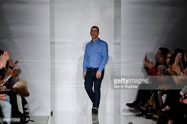 Antonio Berardi walks the runway at the Antonio Berardi show at London Fashion Week AW14 at on February 17 2014 in London England>>