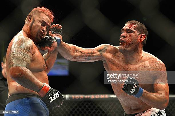 Antonio 'Big Foot' Silva of Brazil connects with a punch during the UFC Brisbane bout between Mark Hunt and Antonio 'Big Foot' Silva of Brazil at the...