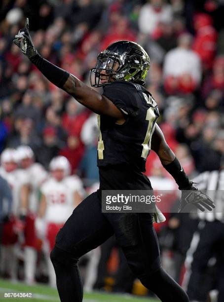 Antonio Blackmon of the Purdue Boilermakers reacts after breaking up a pass in the fourth quarter of the game between the Purdue Boilermakers and the...