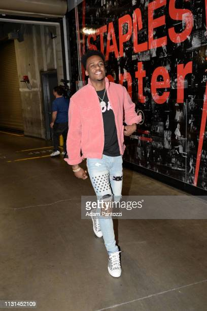 Antonio Blakeney of the Chicago Bulls arrives to the game against the LA Clippers on March 15 2019 at STAPLES Center in Los Angeles California NOTE...