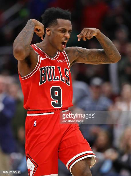 Antonio Blakeney of the Chicago Bulls celebrates hitting a three point shot late in the game against the Indiana Pacers at the United Center on...