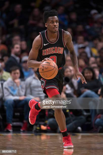 Antonio Blakeney of the Chicago Bulls dribbles down court against the Denver Nuggets at Pepsi Center on November 30 2017 in Denver Colorado