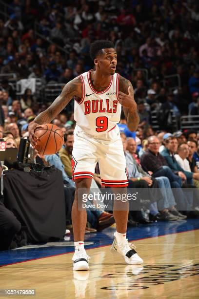Antonio Blakeney of the Chicago Bulls dribbles the ball against the Philadelphia 76ers on October 18 2018 at the Wells Fargo Center in Philadelphia...