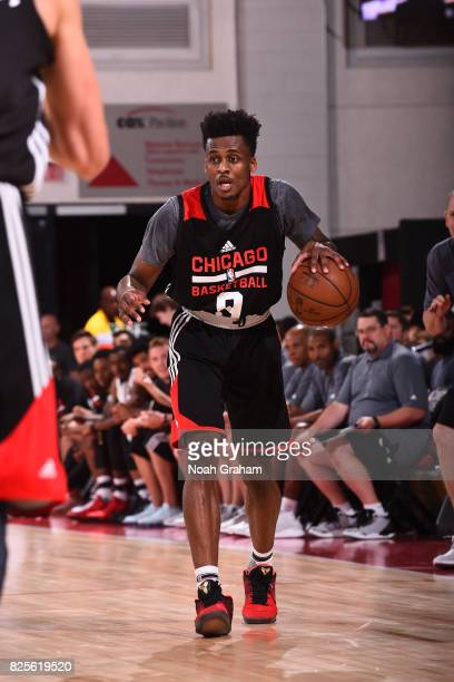 Antonio Blakeney of the Chicago Bulls dribbles the ball during the 2017 Summer League game against the Portland Trail Blazers on July 12 2017 at the...