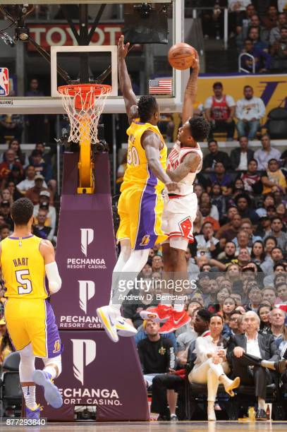Antonio Blakeney of the Chicago Bulls dunks against the Los Angeles Lakers on November 21 2017 at STAPLES Center in Los Angeles California NOTE TO...