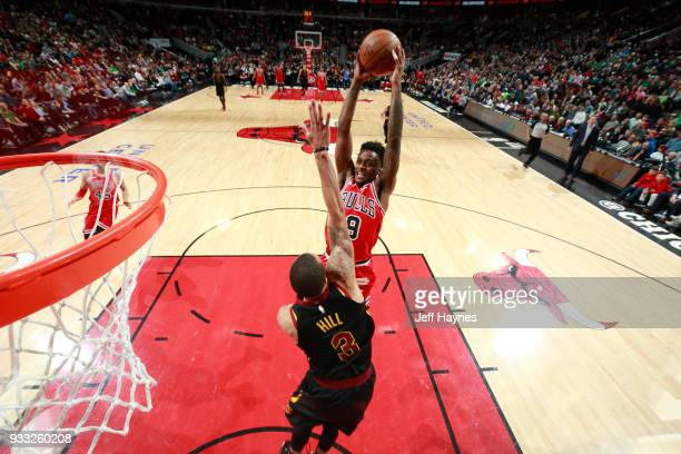 Antonio Blakeney of the Chicago Bulls dunks the ball against the Cleveland Cavaliers on March 17 2018 at the United Center in Chicago Illinois NOTE...