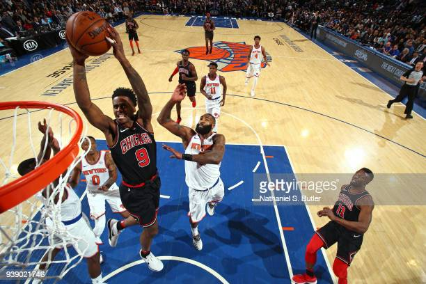 Antonio Blakeney of the Chicago Bulls goes to the basket against the New York Knicks on March 19 2018 at Madison Square Garden in New York City New...