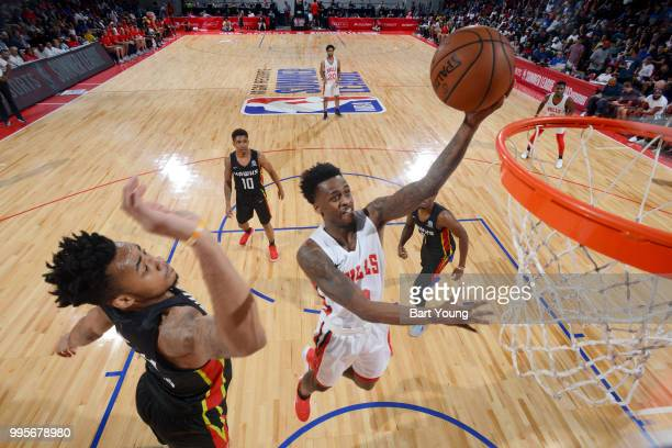 Antonio Blakeney of the Chicago Bulls goes to the basket against the Atlanta Hawks during the 2018 Las Vegas Summer League on July 10 2018 at the Cox...