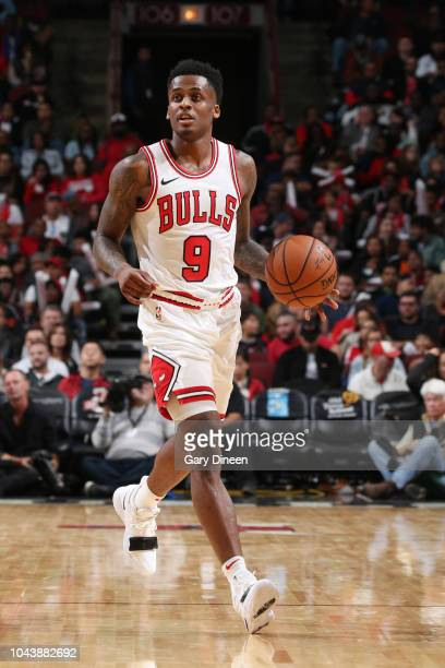 Antonio Blakeney of the Chicago Bulls handles the ball against the New Orleans Pelicans during a preseason game on September 30 2018 at the United...