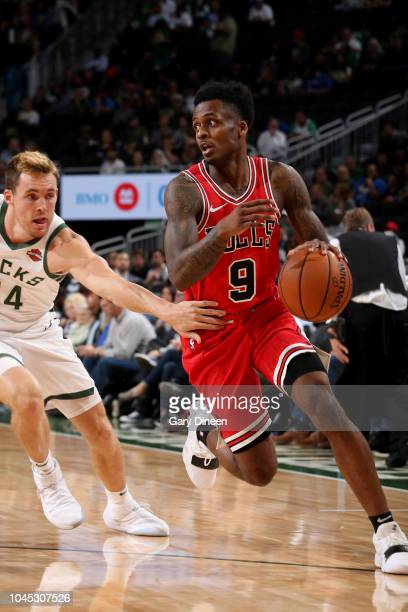 Antonio Blakeney of the Chicago Bulls handles the ball against the Milwaukee Bucks during a preseason game on October 3 2018 at Fiserv Forum in...