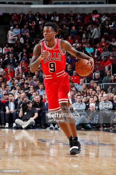 Antonio Blakeney of the Chicago Bulls handles the ball against the Charlotte Hornets on October 24 2018 at United Center in Chicago Illinois NOTE TO...