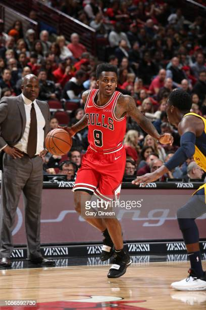 Antonio Blakeney of the Chicago Bulls handles the ball against the Indiana Pacers on November 2 2018 at the United Center in Chicago Illinois NOTE TO...