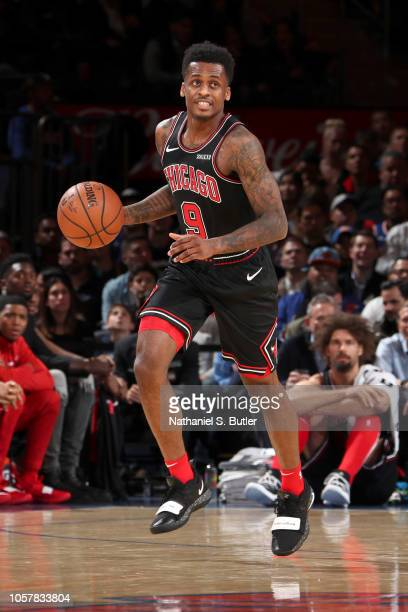 Antonio Blakeney of the Chicago Bulls handles the ball against the New York Knicks on November 5 2018 at Madison Square Garden in New York City New...