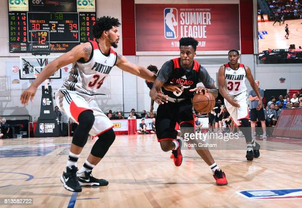 Antonio Blakeney of the Chicago Bulls handles the ball against the Portland Trail Blazers during the 2017 Summer League on July 12 2017 at the Cox...
