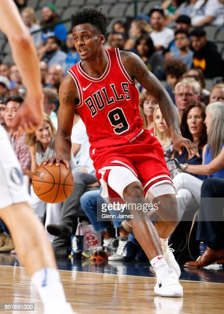 Antonio Blakeney of the Chicago Bulls handles the ball against the Dallas Mavericks on October 4 2017 at the American Airlines Center in Dallas Texas...