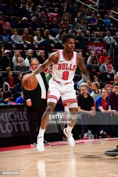 Antonio Blakeney of the Chicago Bulls handles the ball against the Detroit Pistons on March 9 2018 at Little Caesars Arena in Detroit Michigan NOTE...