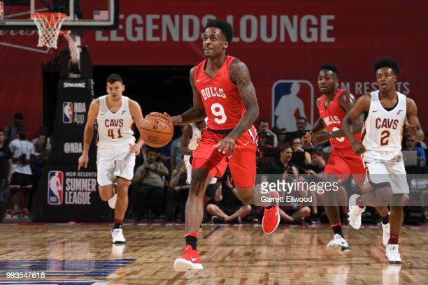 Antonio Blakeney of the Chicago Bulls handles the ball against the Cleveland Cavaliers during the 2018 Las Vegas Summer League on July 7 2018 at the...