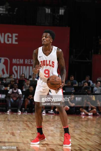 Antonio Blakeney of the Chicago Bulls handles the ball against the Los Angeles Lakers during the 2018 Las Vegas Summer League on July 8 2018 at the...