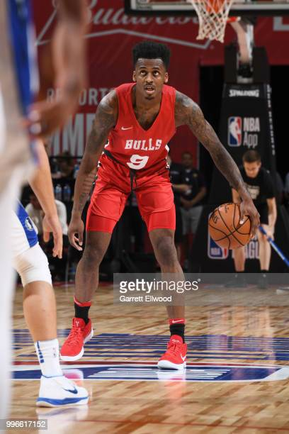Antonio Blakeney of the Chicago Bulls handles the ball against the Dallas Mavericks during the 2018 Las Vegas Summer League on July 11 2018 at the...